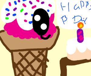 Ice cream celebrates birthday.