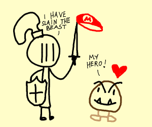 Knight saves goomba