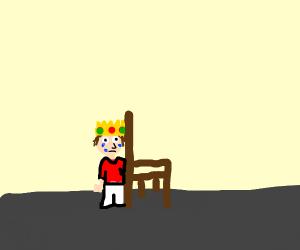 sad King hides behind his throne