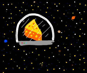 Space cheese floats in space