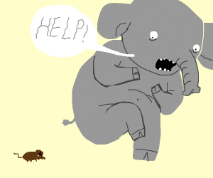 Elephant yells for help because of a mouse