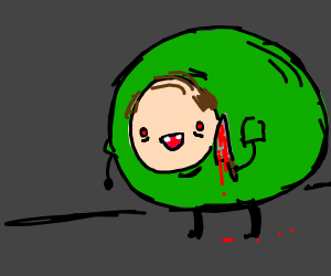 Guy in green holding a bloody knife