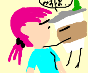 Pink hair girl about to kiss a coffee cup