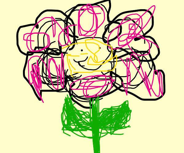 flower stays cheery despire a bad hair day