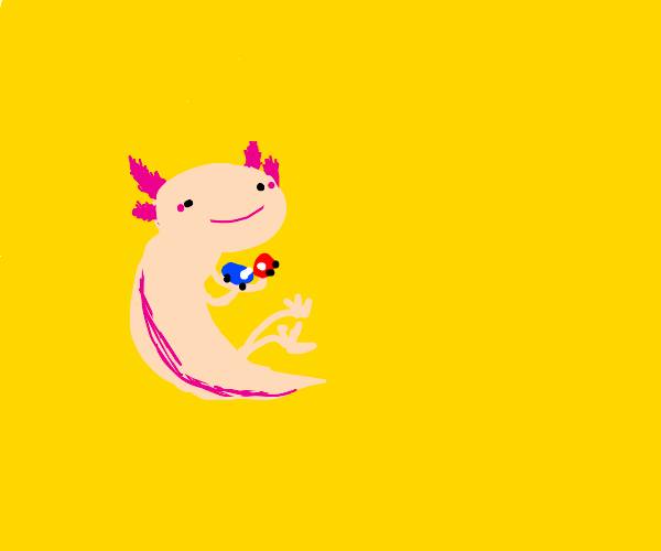 Axolotl putting toy cars together