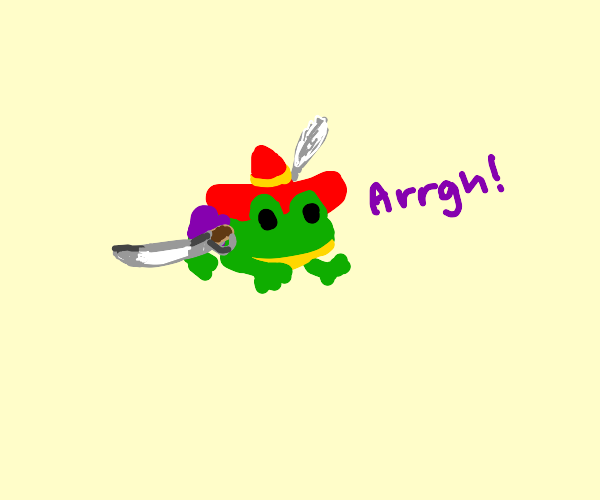 Pirate frog in colorful clothing
