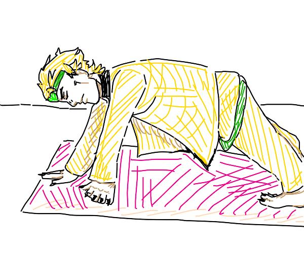 DIO doing yoga
