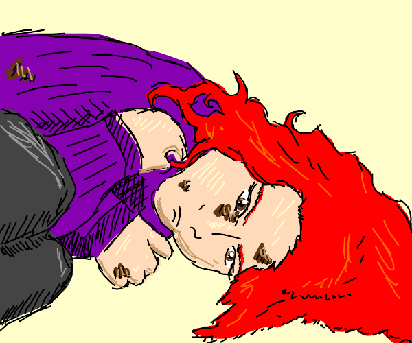 red haired girl is sad and dirty