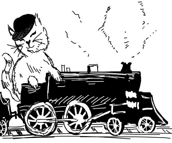 little kitty as a train conductor