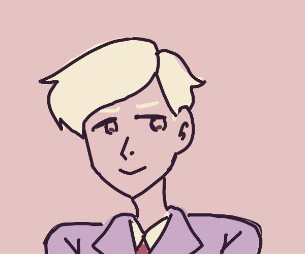 Blonde man in lavender suit