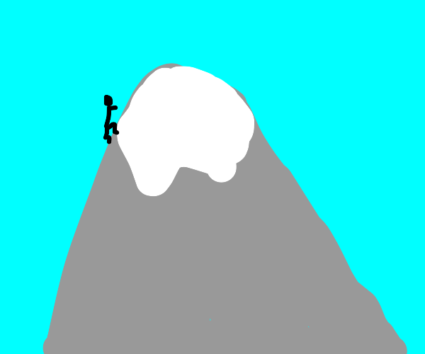 Man climbs up mountain, almost there