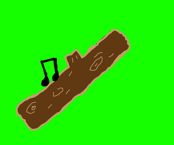A musical note on a wooden log