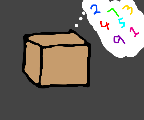 box dreaming about colorful nubers