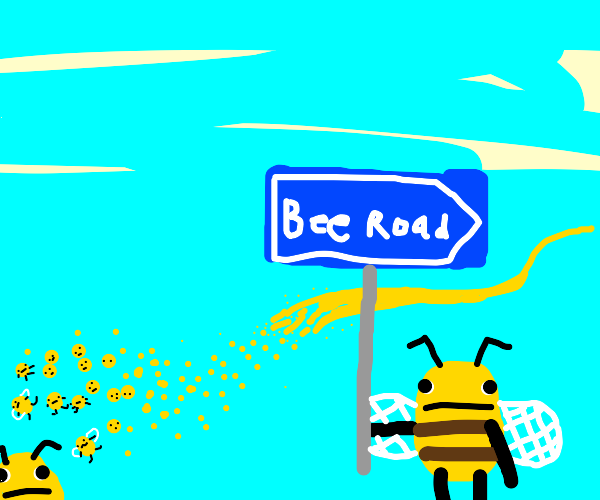 a roadway in sky made of bees
