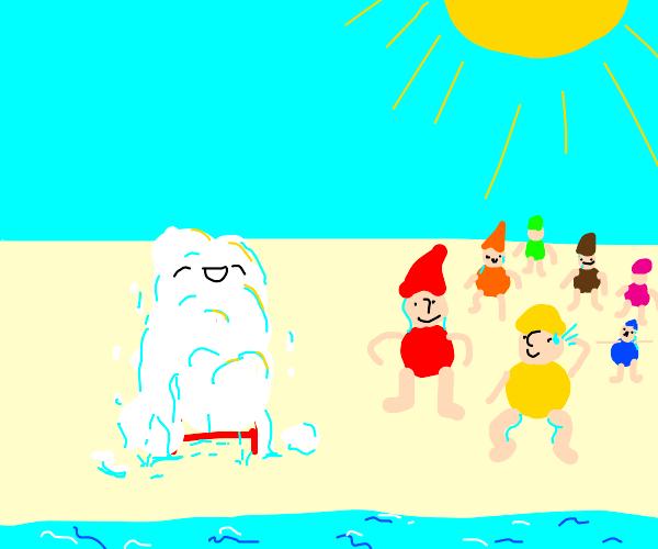 Snow White enjoying the Beach