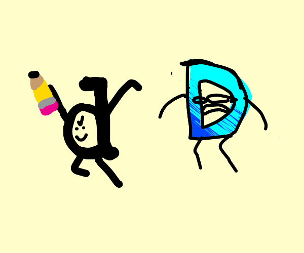 Drawful D steals Drawception D's pencil