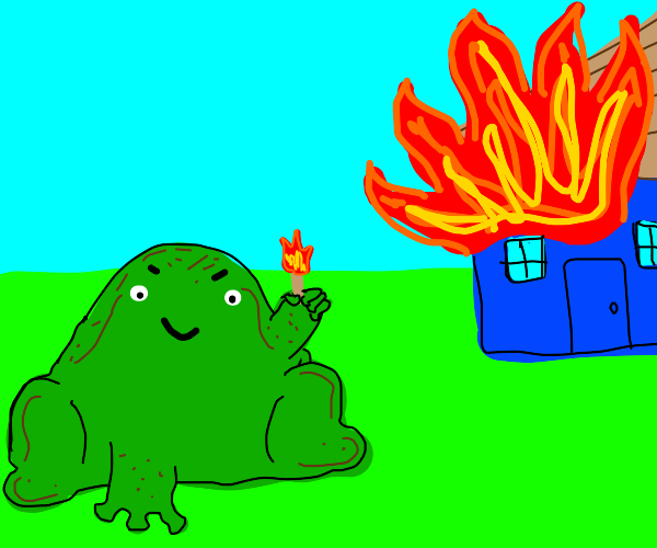 A frog commits arson