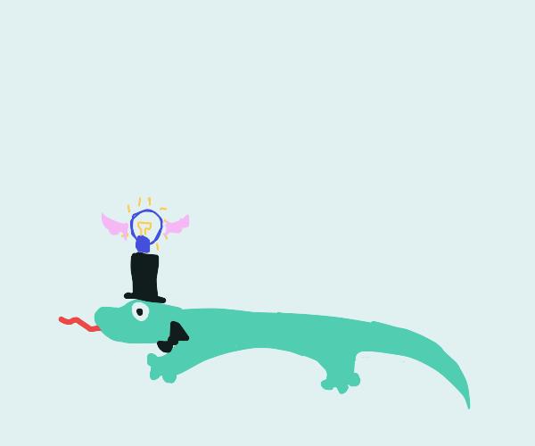 Blue lightbulb with wings on dapper lizard