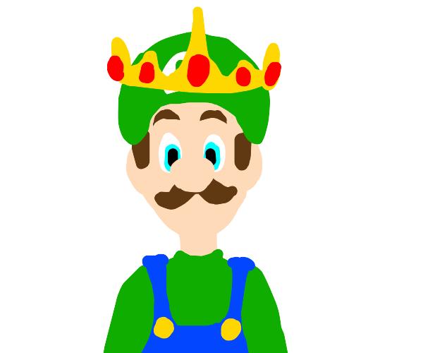 Luigi in a giant crown