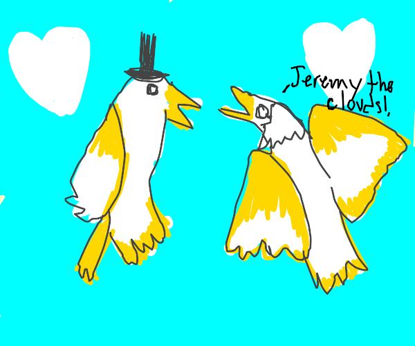 A Bird Wedding with Heart Clouds