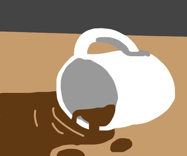 Mug fell over on the table