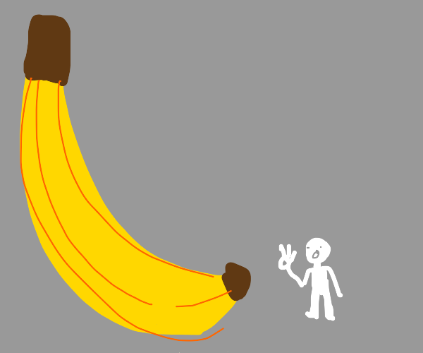 Man is A-OK with giant banana.