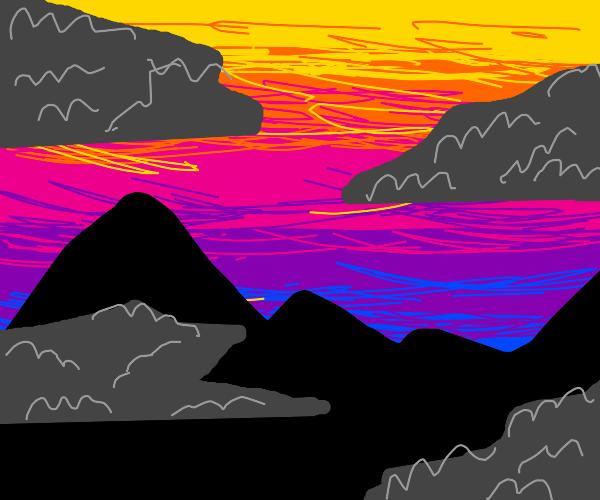 sunset behind dark clouds, over dark mountain