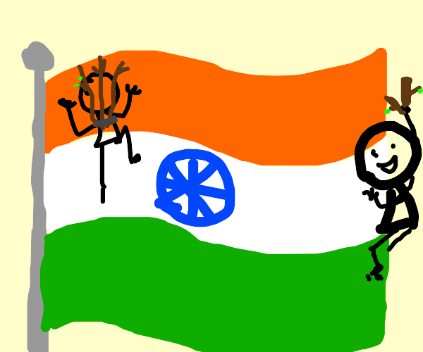 people with sticks on indian flag