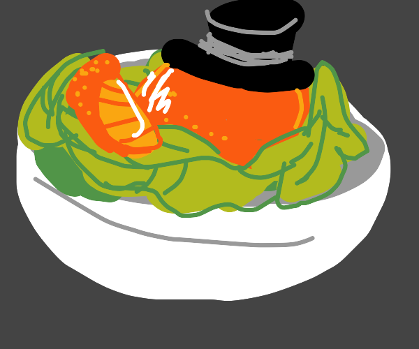 a orange thing with a tophat with a salad