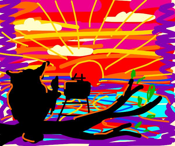 Owl paints sunset