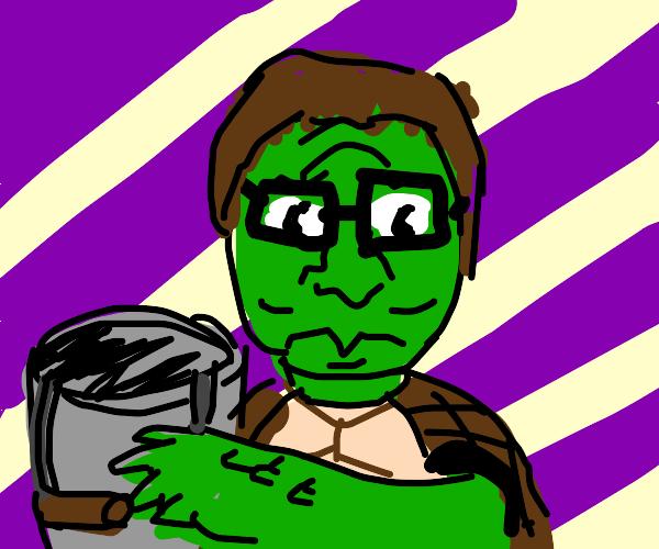 Hank Hill turtle has a BUCKET