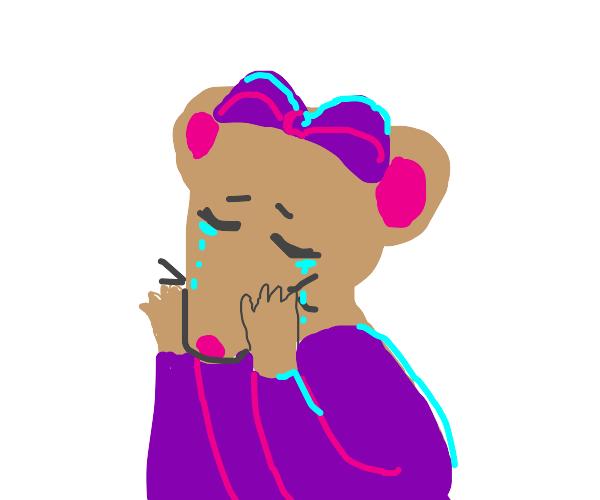 Crying ballerina wearing purple