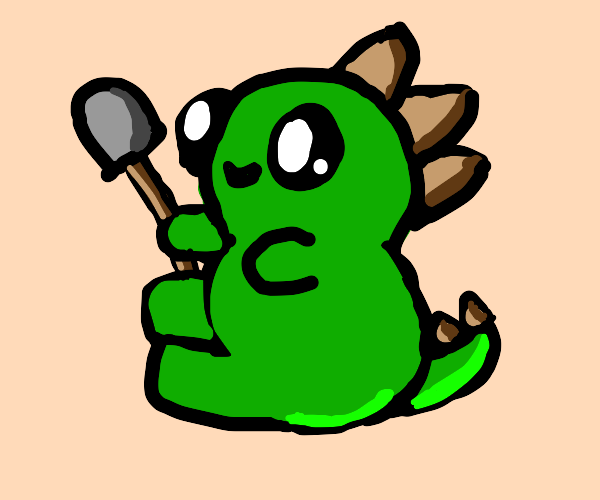 Green dino with spade digging hole in the mug