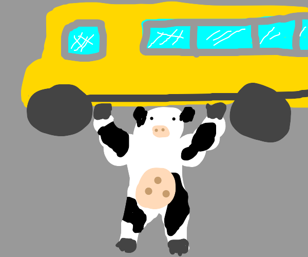 Cow-hulk lifts a bus