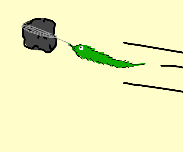 Worm on a string is attached to a rock :(