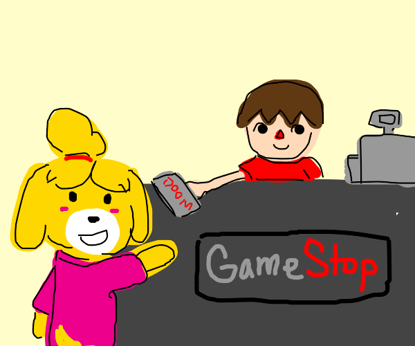 Isabell gets doom from villager at game stop