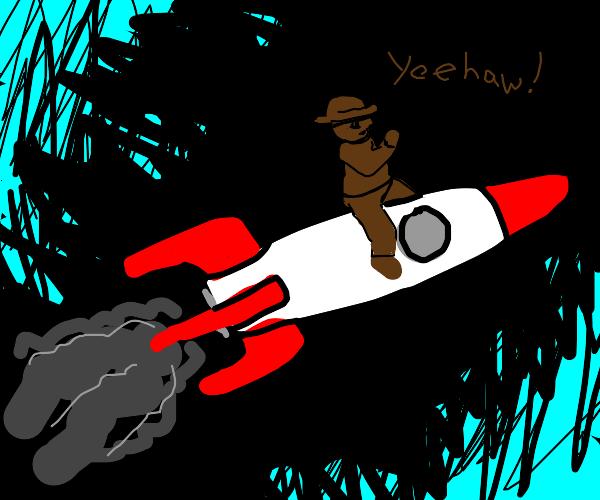 Man Riding a Rocket