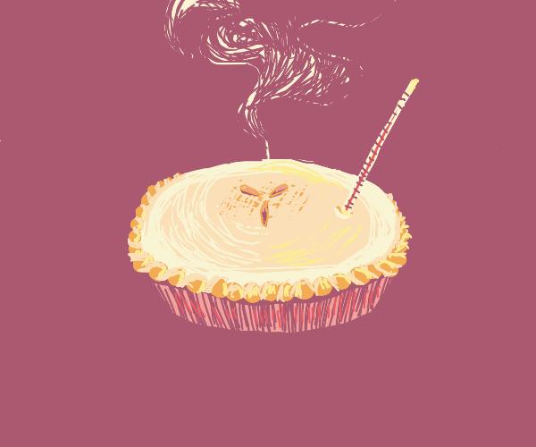 Pie getting its temperature taken