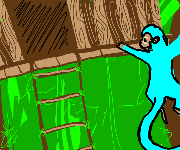 blue monkey goes to his treehouse