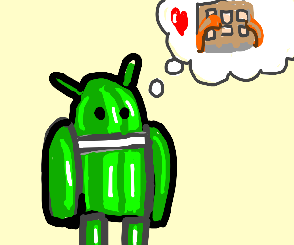 Android Mascot Thinking About Waffles