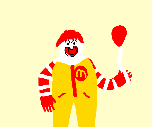 McDonald's clown holding balloon kinda creepi