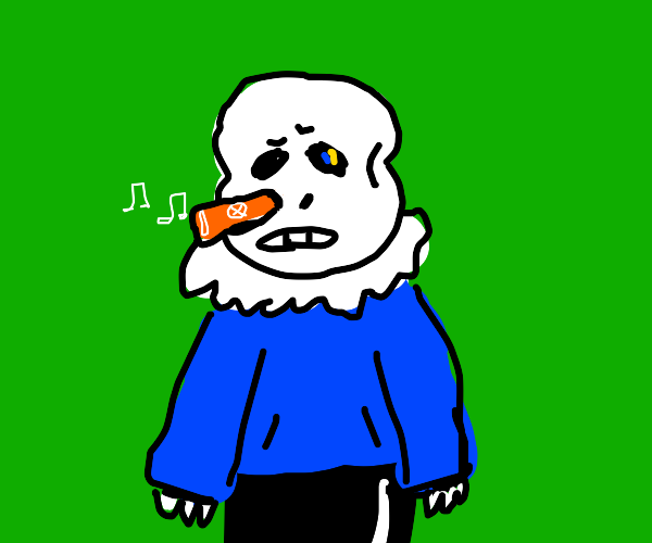 Sans Undertale with a kazoo in his nose