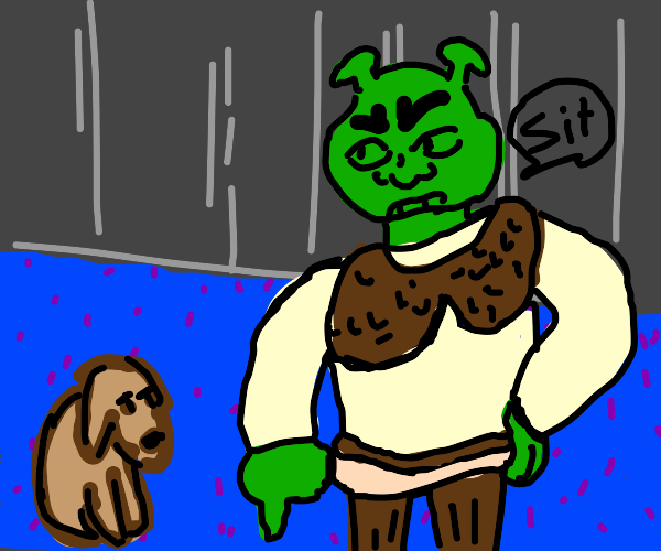 Shrek telling the dog to sit down