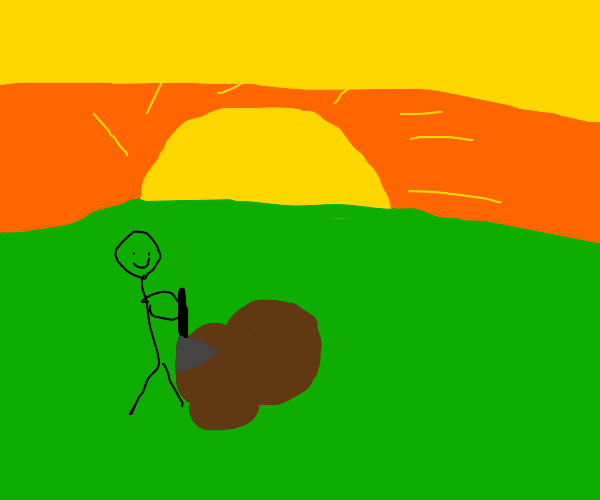 Stickman digging a hole while sunset