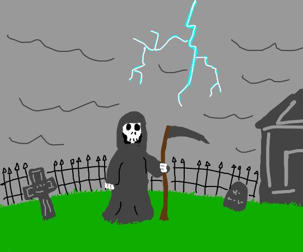 grim reaper at graveyard in thunderstorm