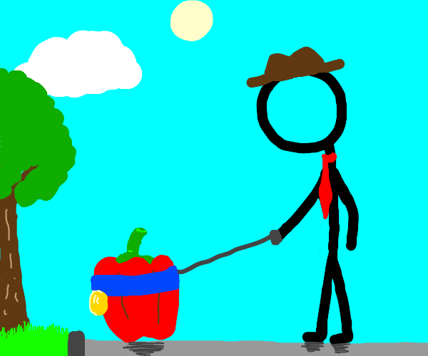 A red bell pepper on a leash (not bDsM)
