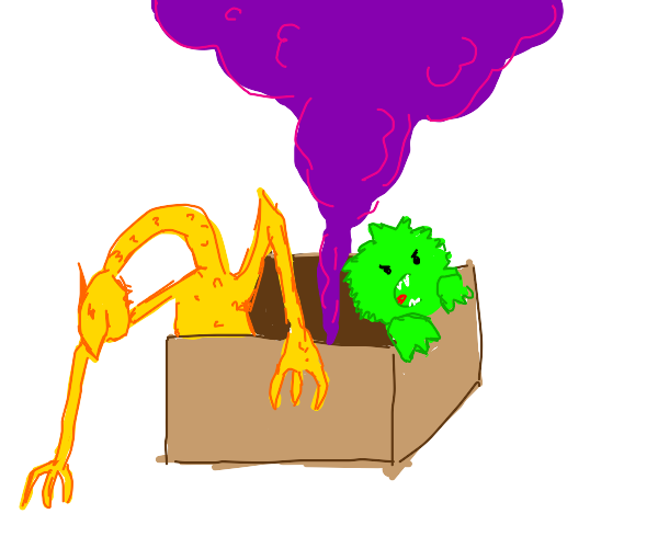 Box releasing gas and monsters