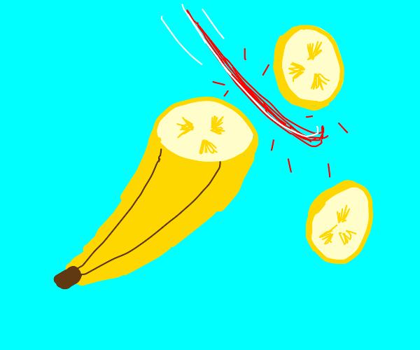 slicing banana