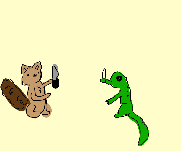 A squirrel and a lizard start a knife fight