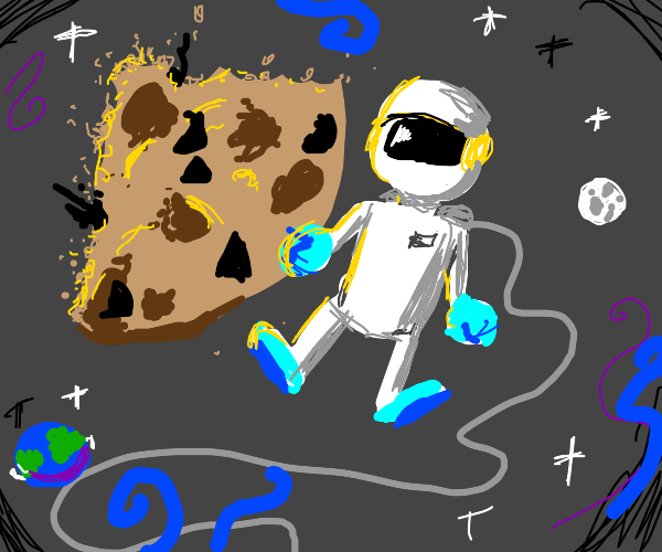 Astronaut taking piece from giant cookie